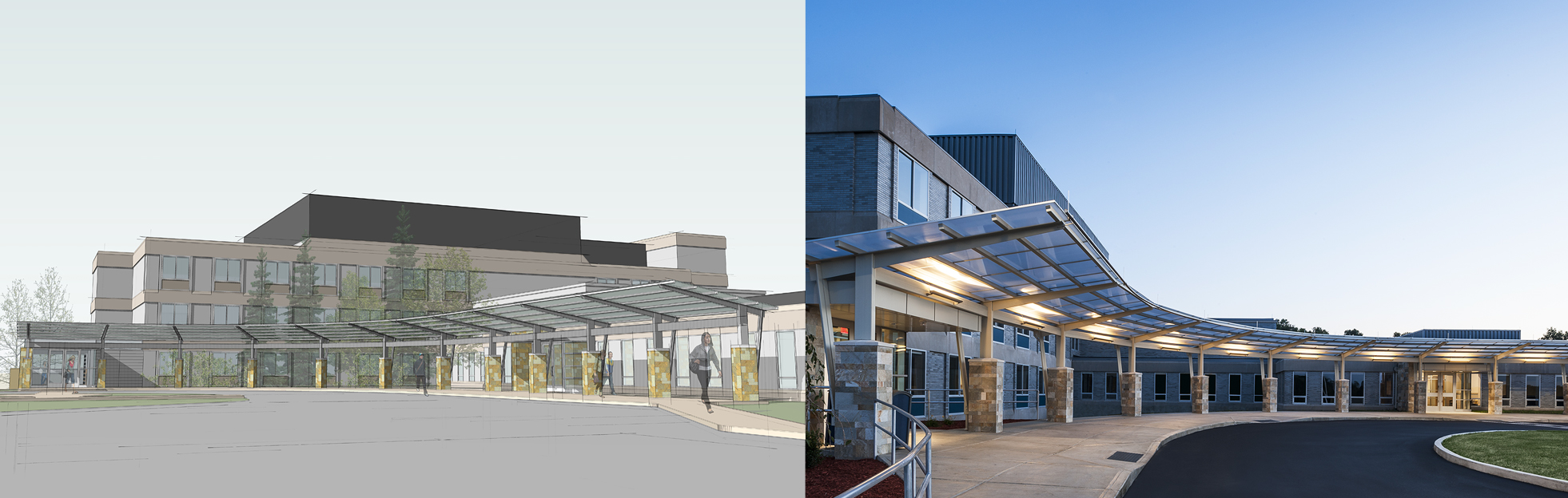 Canopy rendering/building: Orange-Ulster BOCES Regional Education Center at Arden Hill