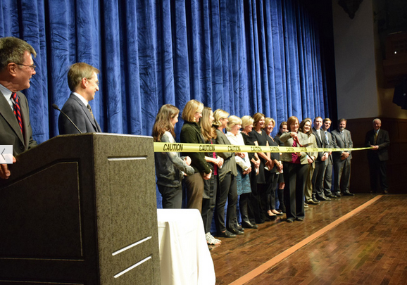 Ribbon cutting for Bronxville Schools' newly renovated auditorium.