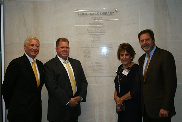 Dominic Calgi, Owner's Rep., Mark Foster, VRD Construction, Marietta DeCamillo, President of the Board of Trustees of Great Neck Library and Russell A. Davidson, FAIA President KG+D Architects, PC